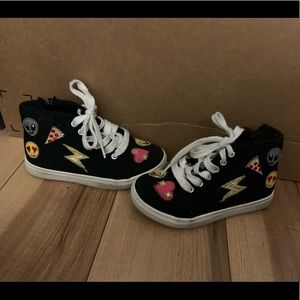 High top patch sneakers